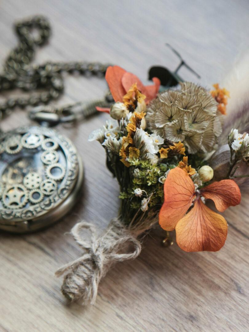 Boutonnière fleurs séchées Fougères