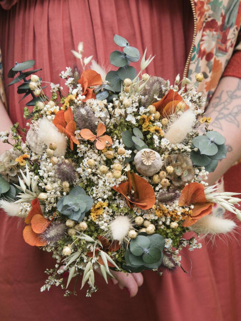 Bouquet de Mariée Fleurs Séchées Un Brin Nomade Fougères